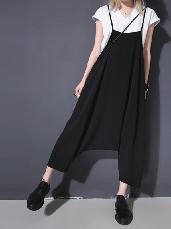 Black Women Jumpsuit with harem pants /& pockets Plus size harem jumpsuit maternity clothing