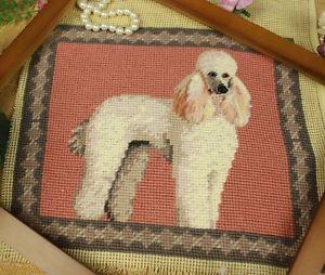 Handmade-Needlepoint-Petitpoint-Wall-Hanger-Canvas-Beautiful-Poodle