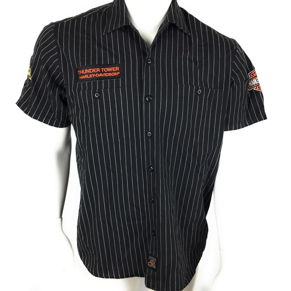 Harley Davidson Mens Black Button Up Thunder Tower Columbia Sc Shirt