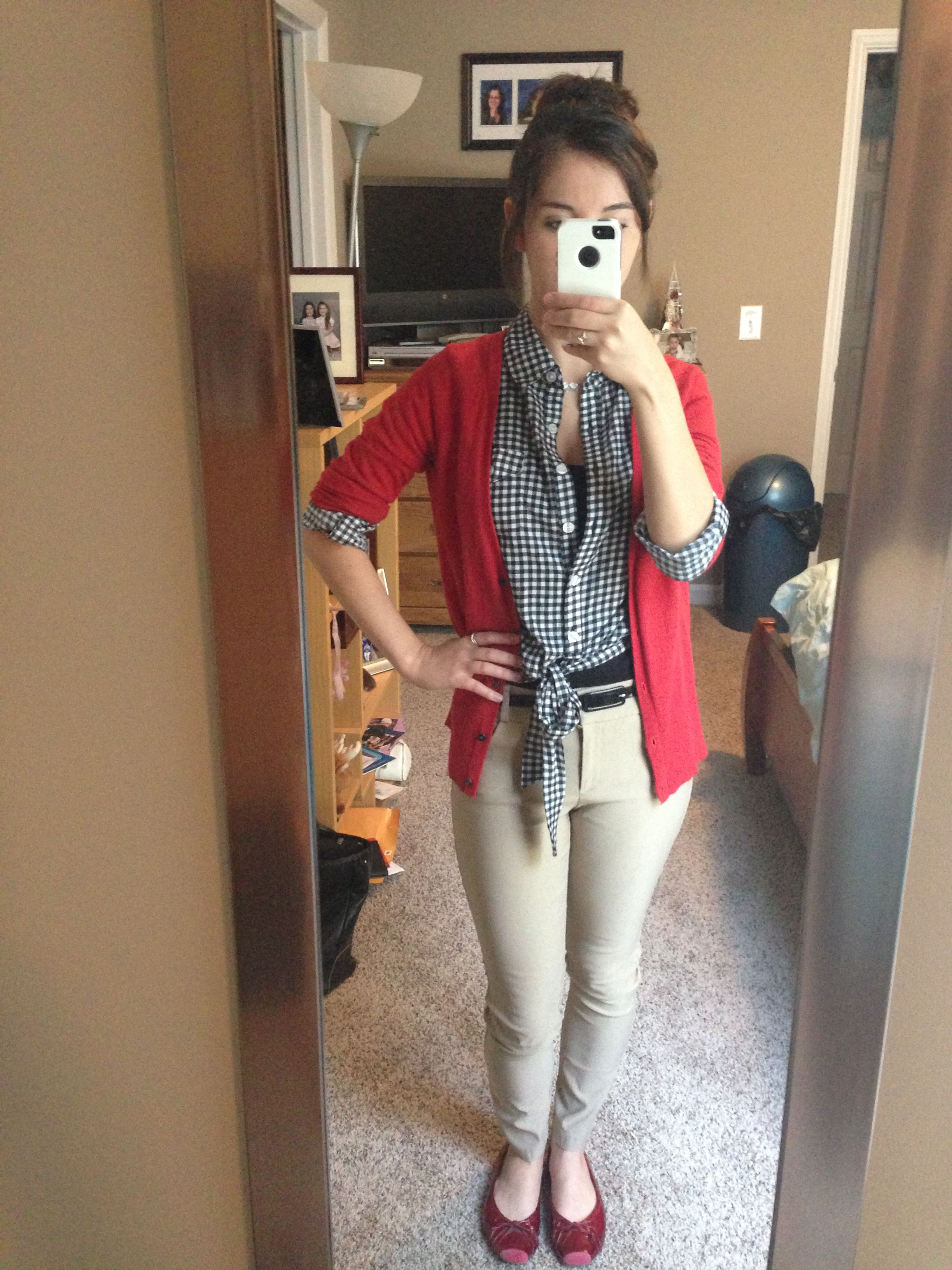 7c1b8bc8bd6 My attempt at making red and khaki look good for work at Target! - will  need ideas like this to dress up this uniform