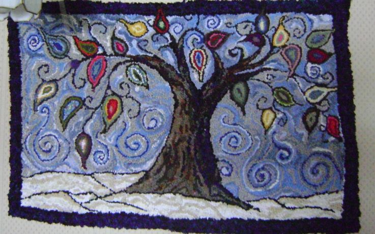 """""""Whimsy Tree"""" hand hooked by Abigail Lee Gaddis"""