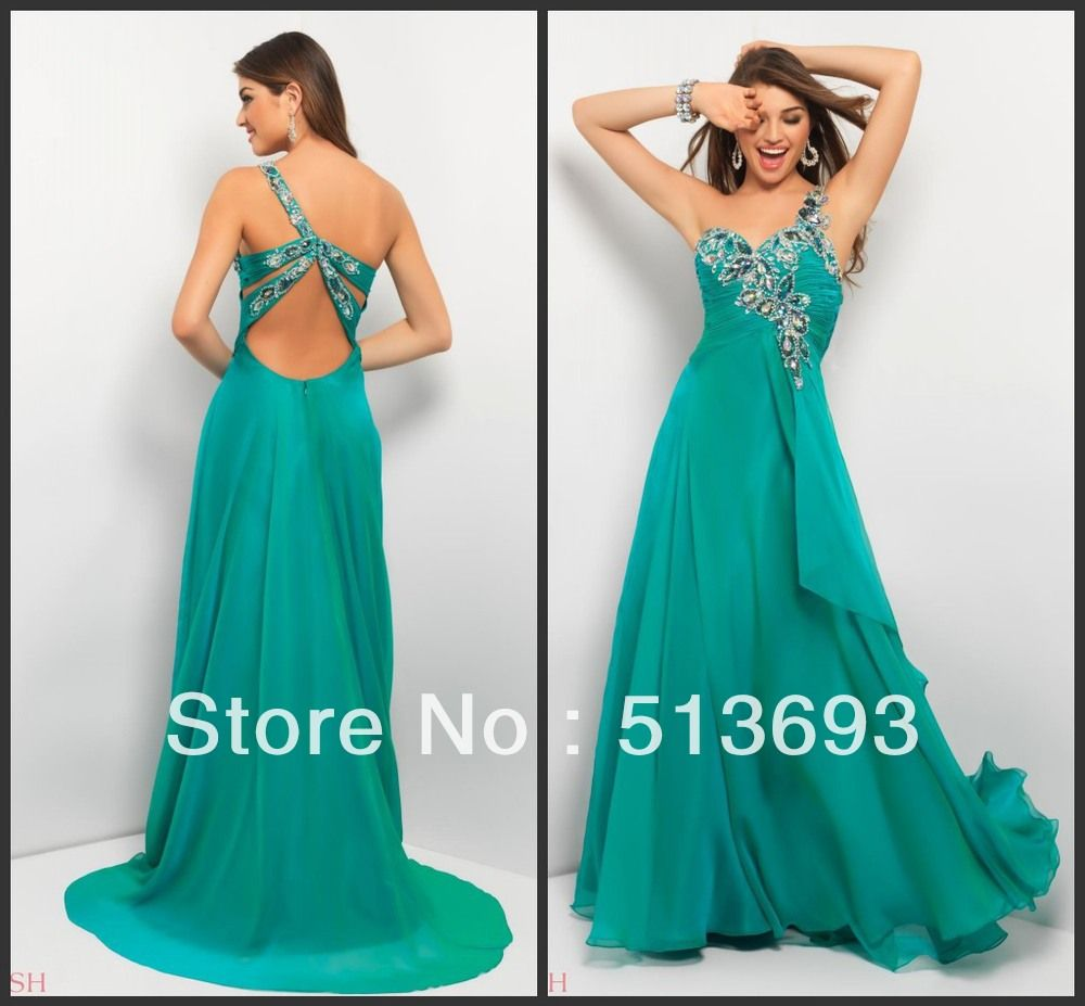 Emerald green prom dress  Appealing One Shoulder Chiffon Long Beaded Emerald Green Prom Dress