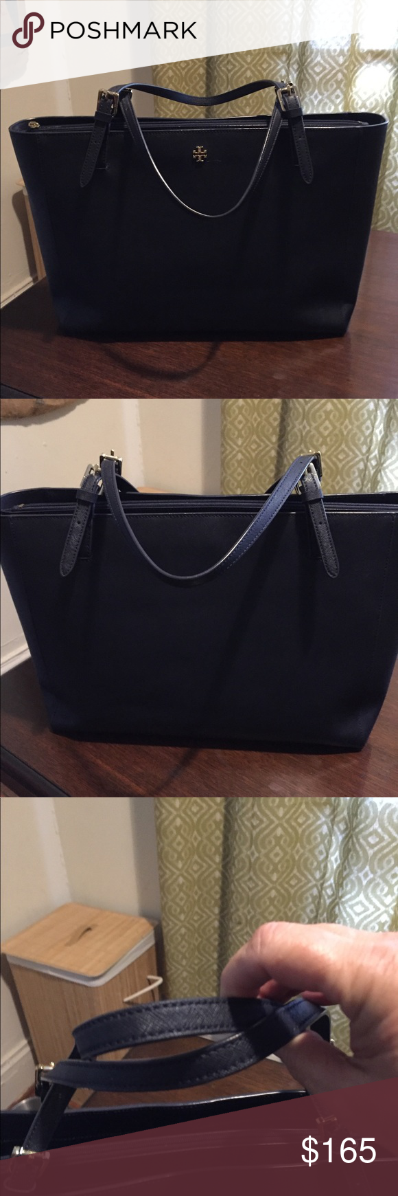 182068df0919c Tory Burch Large York Buckle tote Excellent used Tory Burch York Tote. Size  in photos. Will carry all your essentials including a small laptop or iPad.  I m ...