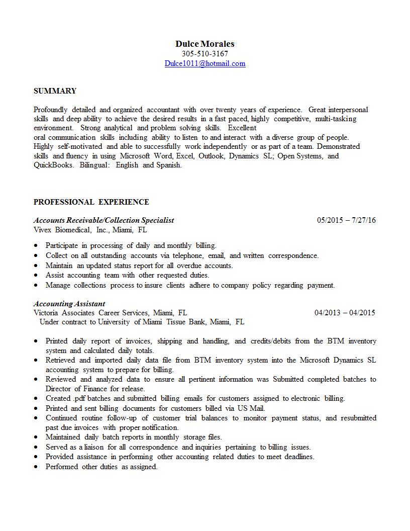 resume dm