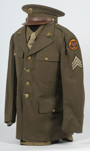 b9a4b6c398d WWII U.S. Army Enlisted Man s Class A Tunic and Visor Cap with Shirt and Tie
