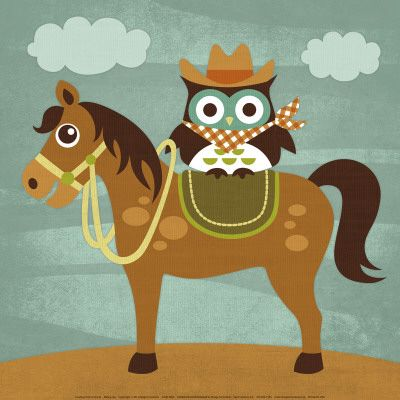 Cowboy Owl on Horse Stampa artistica