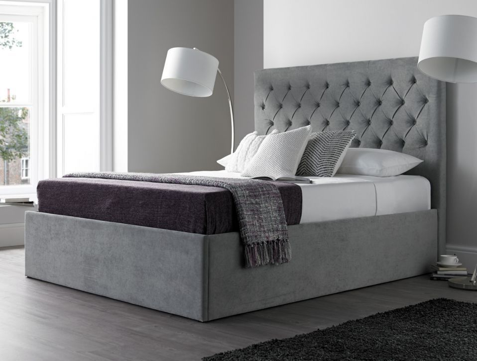 Maxi Steel Grey Upholstered Ottoman Storage Bed Frame Only Bed