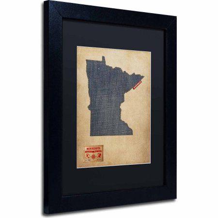 Trademark Fine Art Minnesota Map Denim Jeans Style Canvas Art by Michael Tompsett, Black Matte, Black Frame, Size: 16 x 20