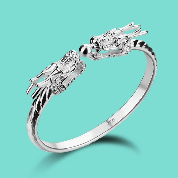 Men 925 sterling silver bracelet,Chinese style the dragon bracelet ...