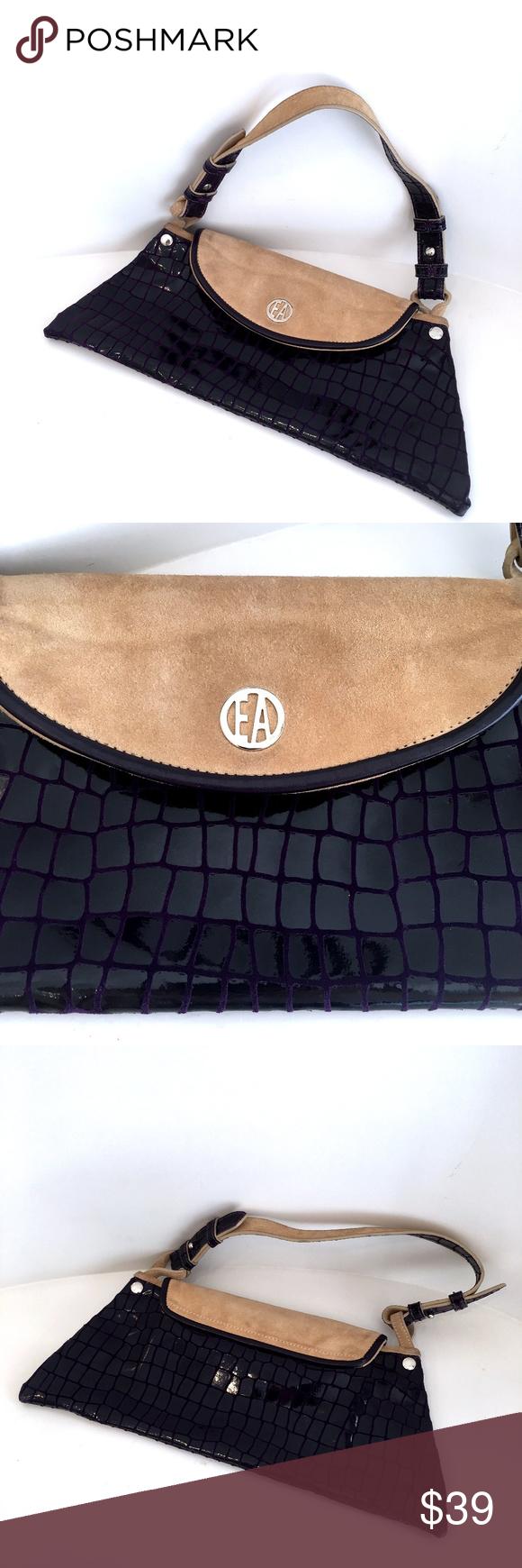 db6d15f99a1 EMPORIO ARMANI purple flat shoulder bag croco pr EMPORIO ARMANI purple flat  shoulder bag croco print