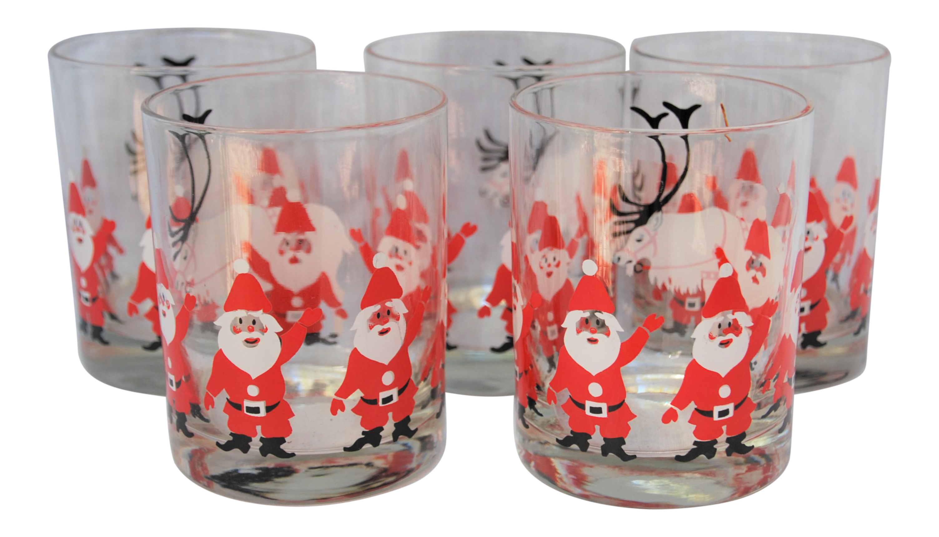 24af283df762 SOLD!!! Vintage George Briard Santa Glasses - Set of 5 on Chairish ...