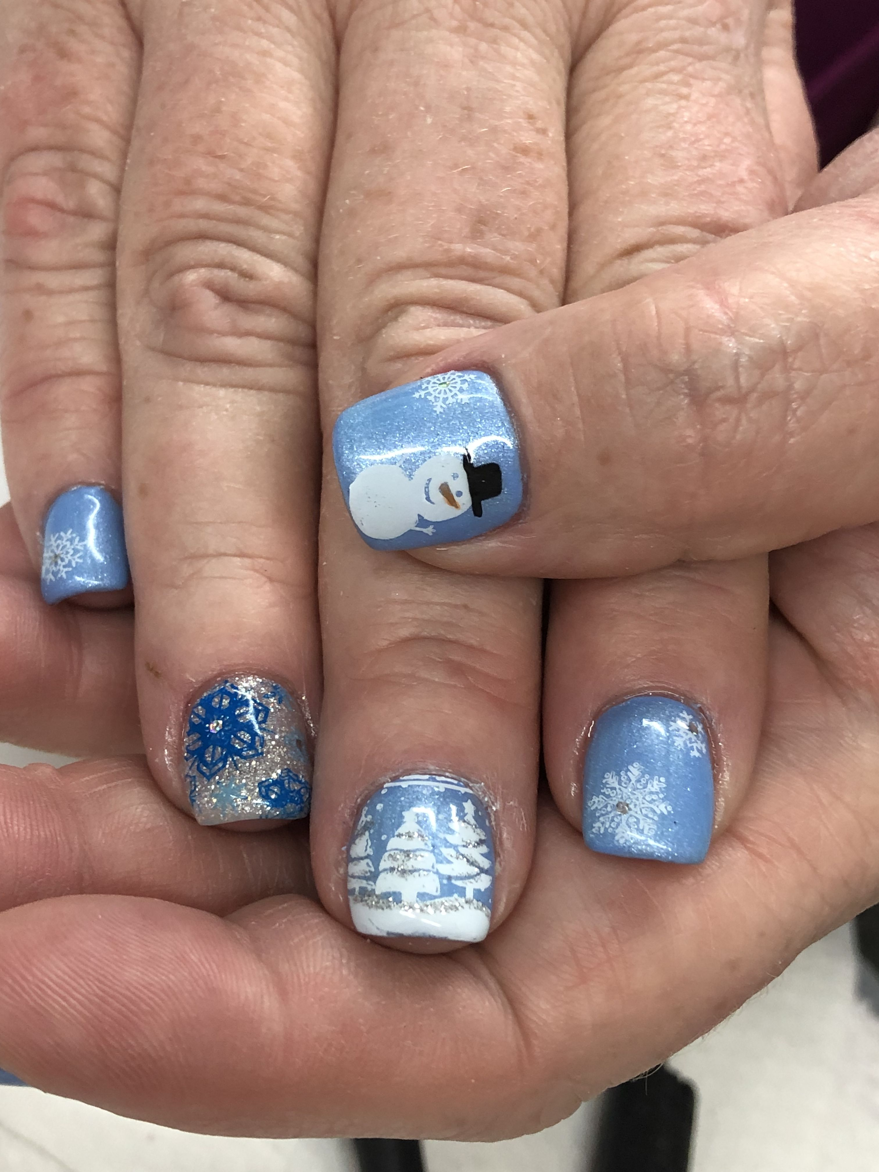 Blue Winter Snowman Snowflake Gel Nails Light Elegance Night Owl
