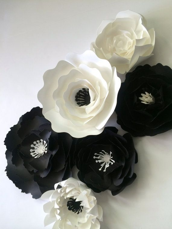 Paper flower wall decor black and whtie wedding paper flower backdrop by paperflora
