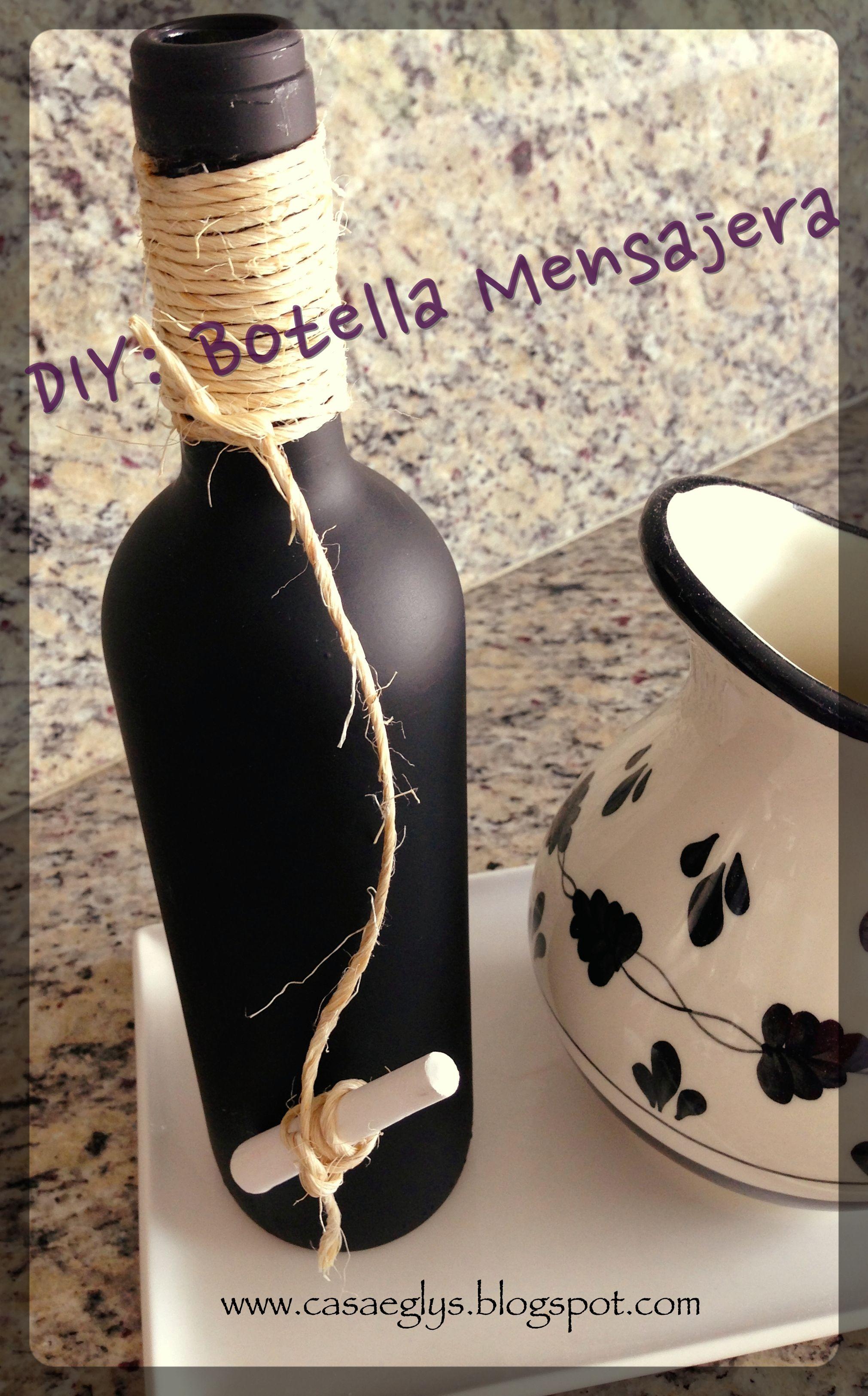 DIY Botella Mensajera handmade pizarra pizarr³n chalk chalkboar