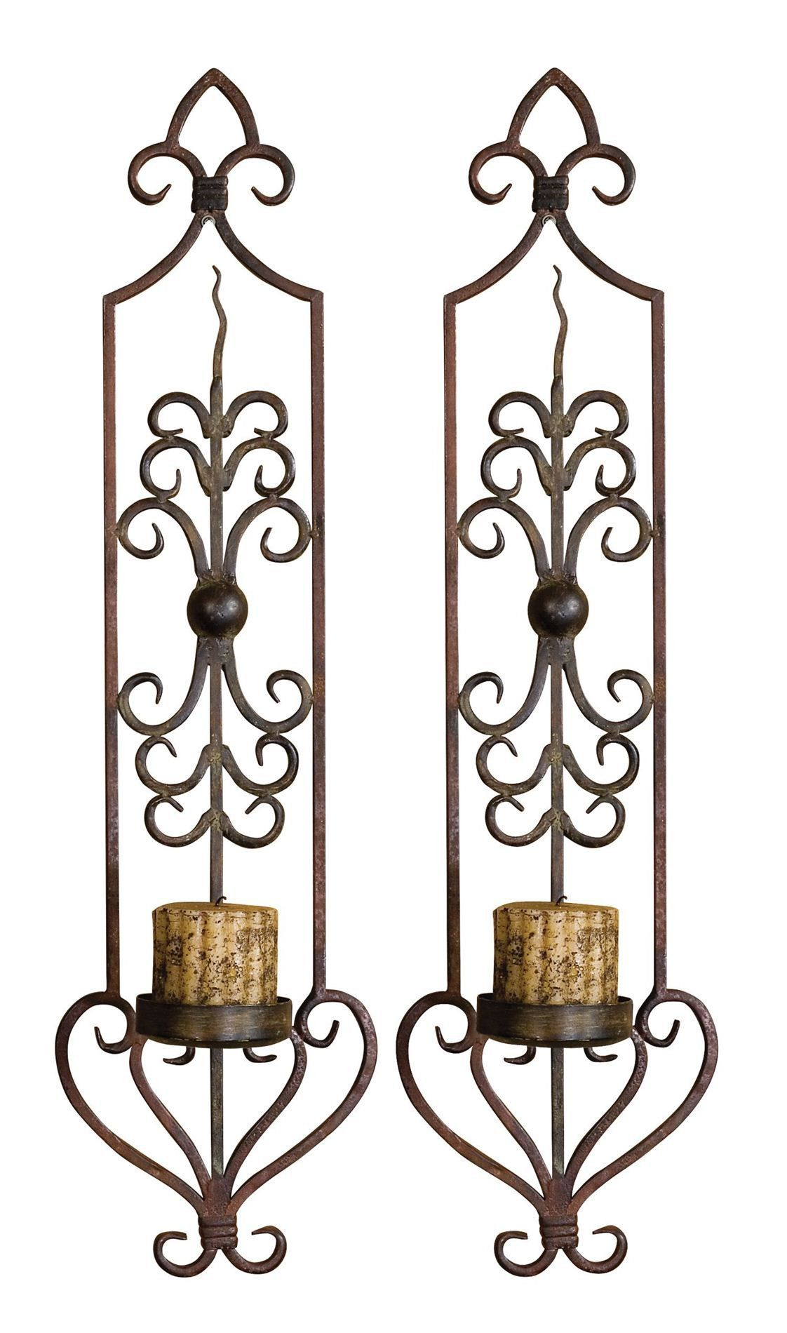 Privas Metal Candle Wall Sconces, Set of 2 by Uttermost