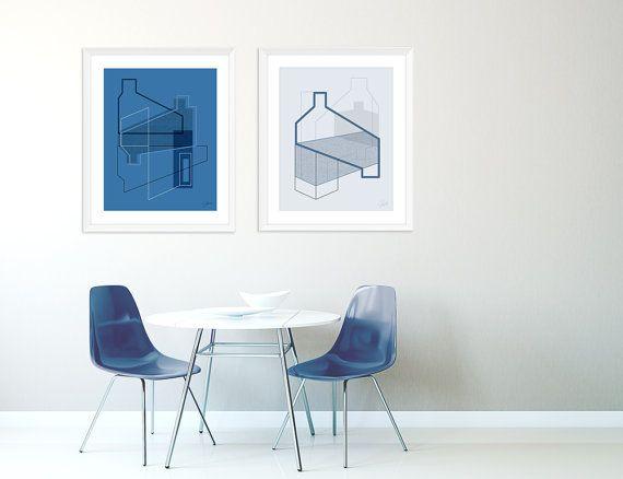 Große Kunst Druck Set, Marine Abstrakte Kunst, Wohnzimmer Kunst Gesetzt,  Architektonische