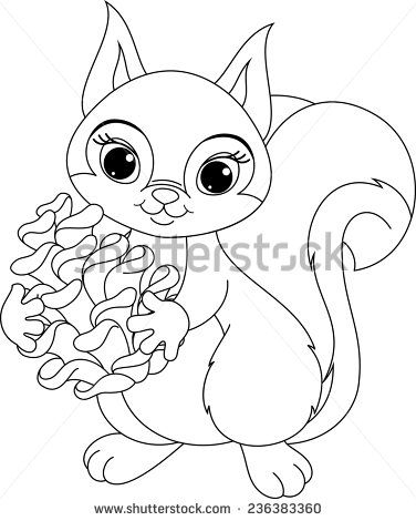 squirrel coloring page stock vector Pinterest