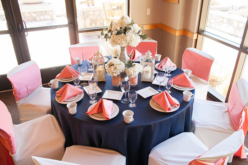 Coral And Navy Table Setting