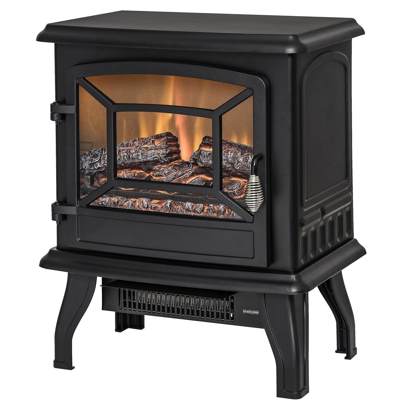 freestanding black portable electric fireplace heater 3d flames