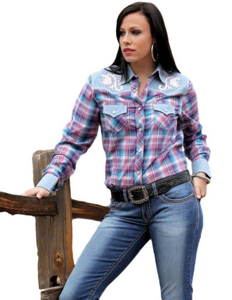 Cruel Girl Western Shirt Womens L/S Plaid Snap XXL Blue CTW9219004
