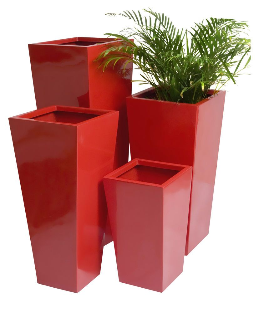 Fibreglass Flared Square Gel Coat Red Planter Plant Pot Garden Patio Outdoor  Tub. Maybe In