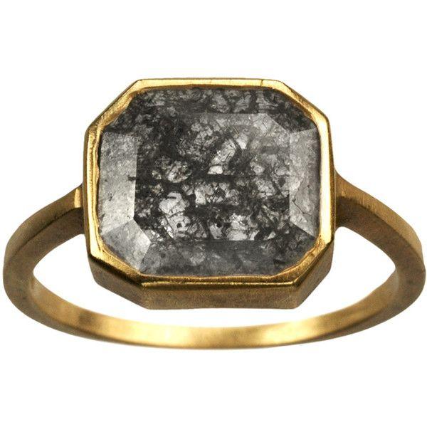 Grey diamond ring.