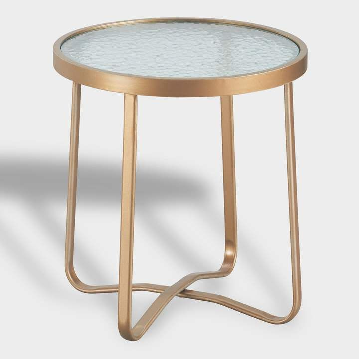 0597ce8983a World Market Round Gold Metal Laila Outdoor Occasional Accent Table ...