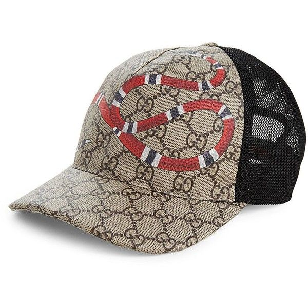 85f40747 Gucci Snake Baseball Cap ($350) ❤ liked on Polyvore featuring men's  fashion, men's accessories, men's hats, mens hats, mens baseball caps, gucci  mens hat, ...