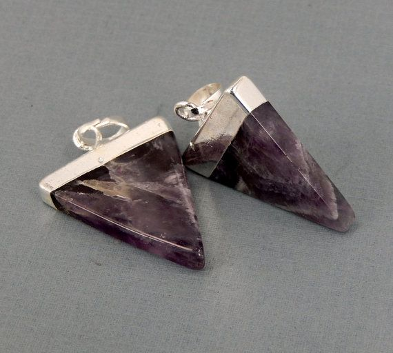 Elegant Amethyst Triangle Charm Pair with by jewelersparadise