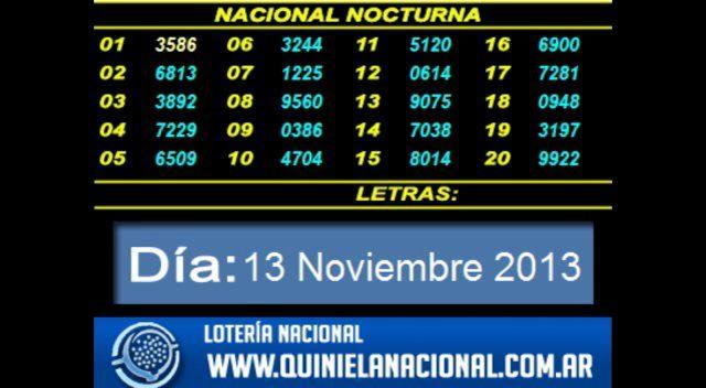 Loteria Nacional La Quiniela Nacional Nocturna Miercoles 13 De Noviembre 2013 Fuente Www Quinielanacional Com A Quiniela Lotería Nacional Quiniela Nocturna