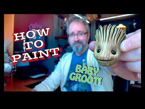 Groot Tutorial - How To Custom Paint a Life Size Resin Groot Head - YouTube