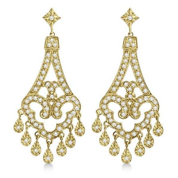 Allurez Dangling Chandelier Diamond Earrings 14k Yellow Gold 1 08ct 915