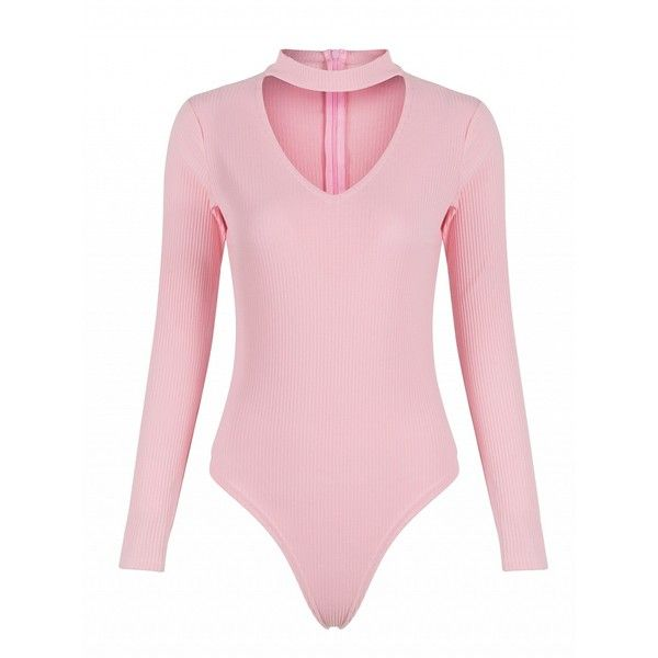 846844e0c4 Choies Pink Choker Detail V-neck Long Sleeve Bodysuit (20 AUD) ❤ liked on Polyvore  featuring intimates