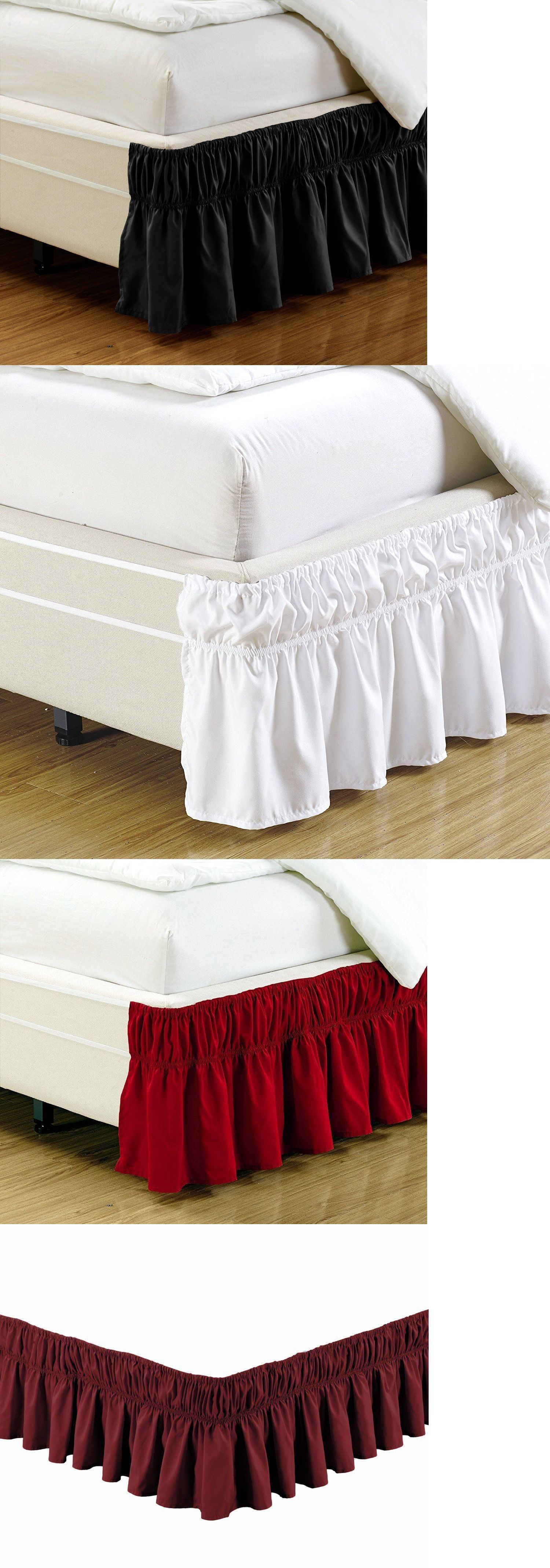 "Fancy Linen Elastic Bed Ruffles Bed-Skirt 17/""Drop Assorted Colors All Sizes New"