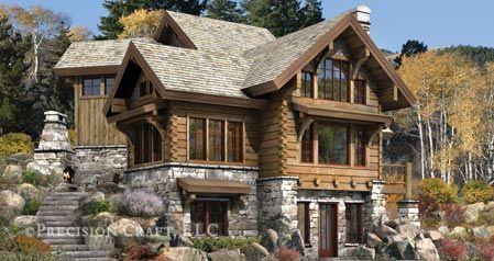Targhee log cabin luxury log cabin plans by precisioncraft custom design for timber cabins - Modelos de casas de piedra ...