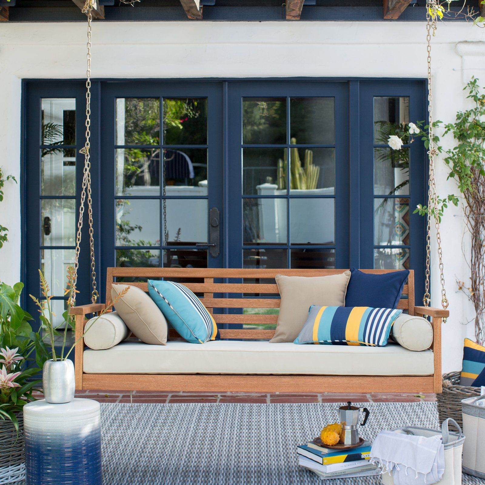 Outdoor Belham Living Brighton Deep Seating 65 In Porch Swing Bed With Cushion Porch Swing Patio Swing House With Porch