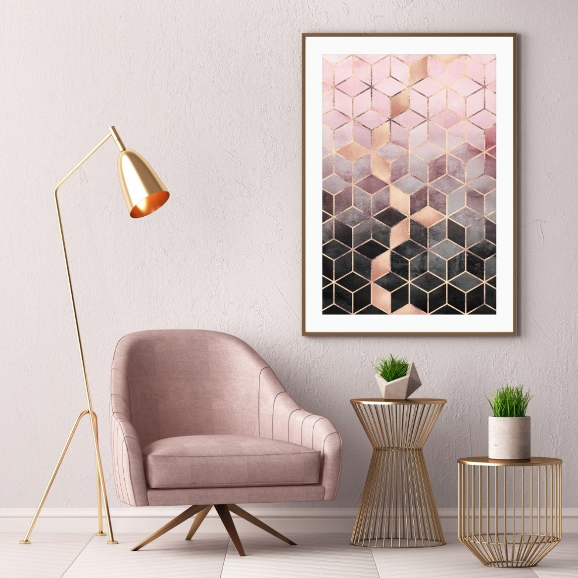 Pink and Grey Gradient Cubes Art Print images