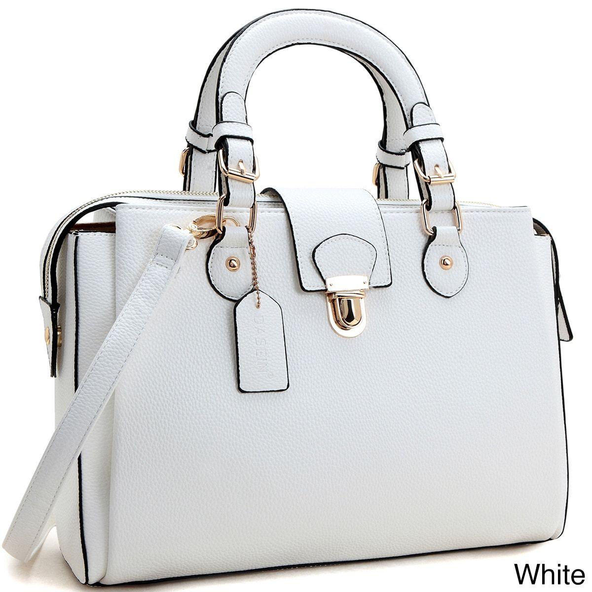 Dasein Front Snap Lock Satchel Crossbody Handbag Women S 4 Inch Handle Drop Length 42 Shoulder Strap Measures 14 Inches Wide X 10 High