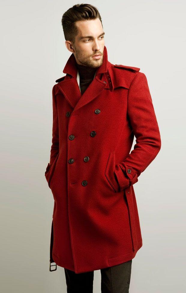 Zara Men S Red Trench Coat Chaquetas Masculinas Moda