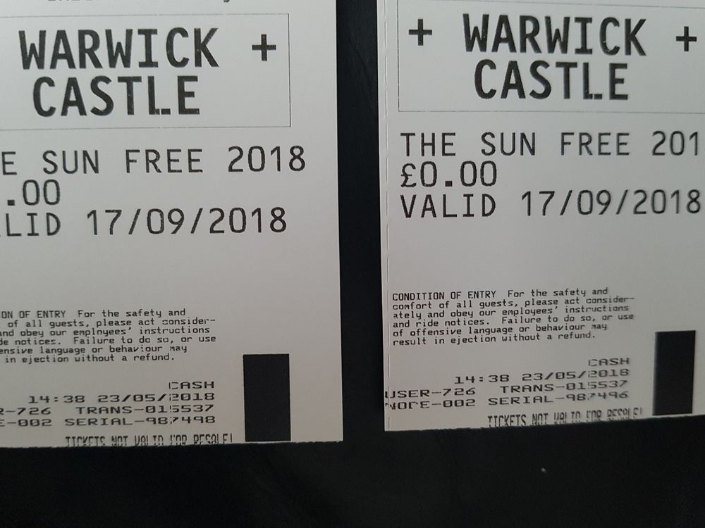 2x Warwick Castle Tickets 17 09 18 15 00 End Date Friday Sep 28