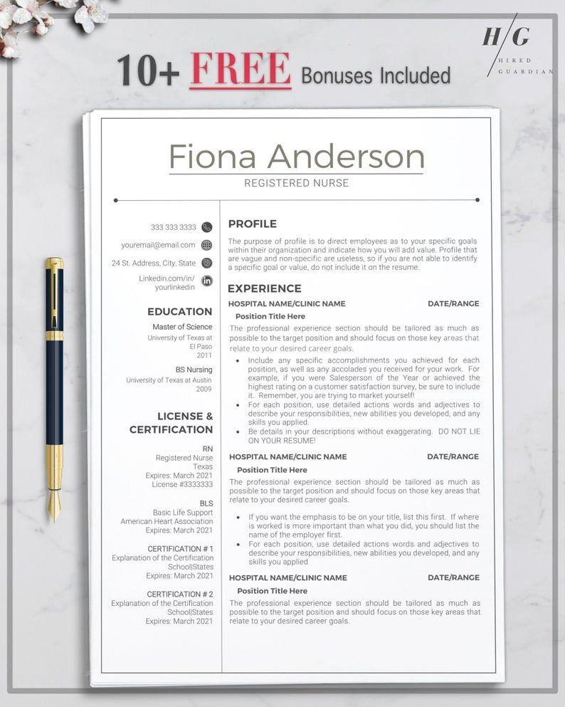 Registered Nurse Resume Template Nurse CV Template for