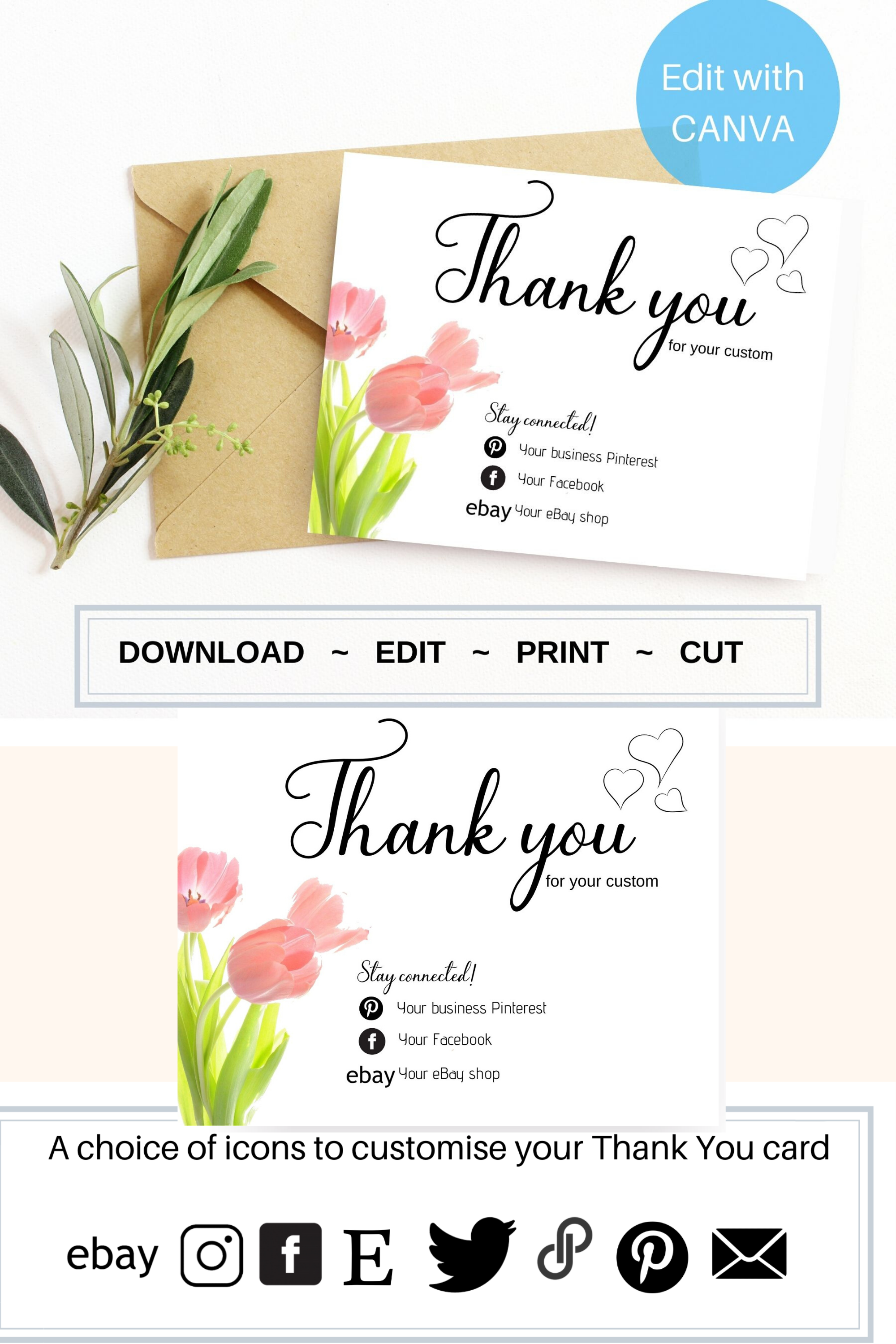 Editable Business Thank You Care Card Template In 2020 Editable Cards Business Thank You Diy Gift Card