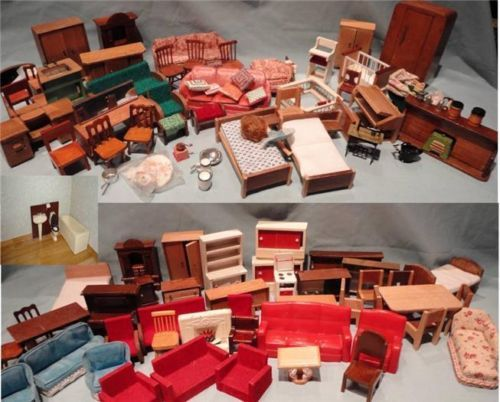 Wonderful Job Lot Vintage 50   60u0027s Barton Lundby Doll House Furniture 80+ Items 1/16   18