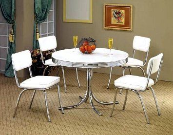 5pcs Retro White Round Dining Table 4 White Chairs Set White