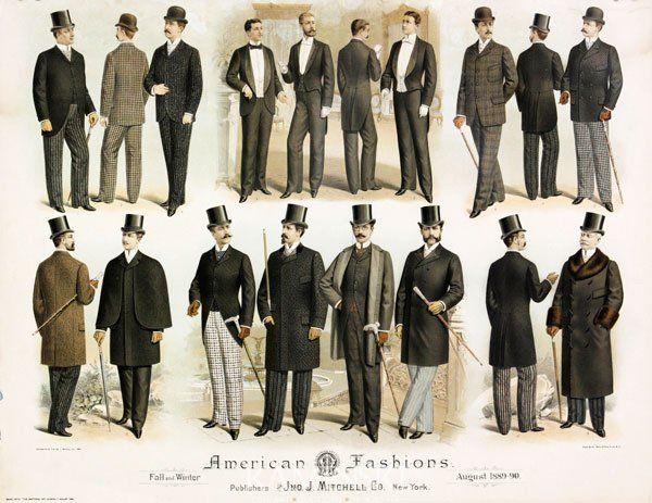 1889,1890 Mode masculine aux Etats,Unis