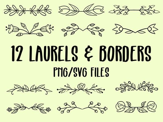 Photo of 12 LAURELS and BORDERS, hand-drawn wreaths, doodle clipart, floral wreaths, rustic, drawn wreaths, png, svg, vector wreaths, wedding