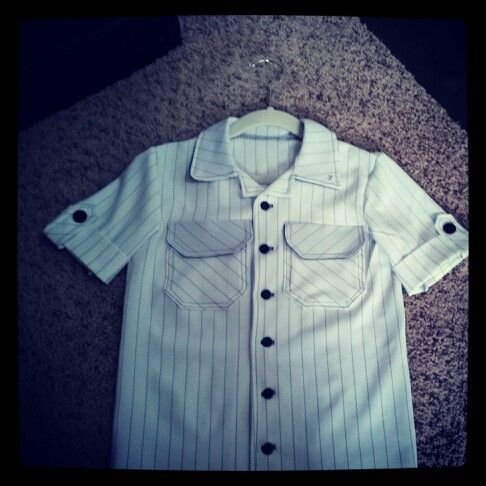 Custom boys button up shirt. White and black striped with dark gray buttons and stitching.
