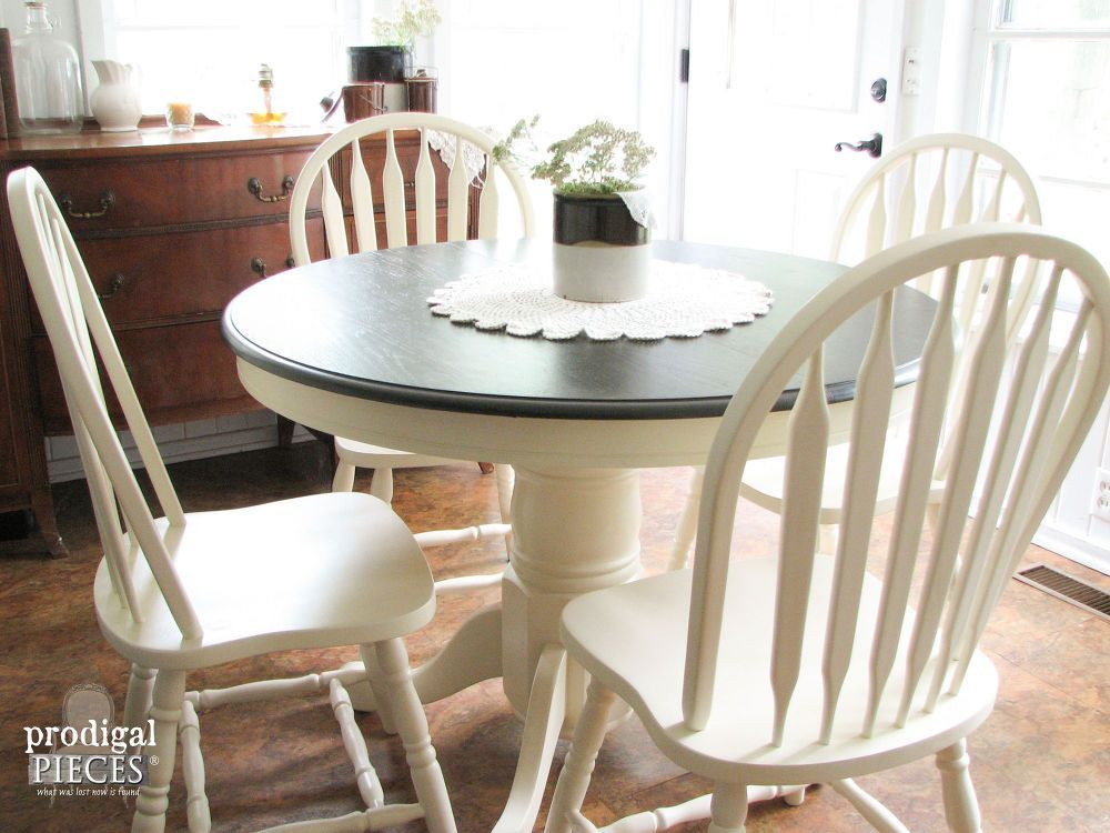 Outdated 1980 S Dining Set Gets Farmhouse Makeover Kitchen Table Makeover Farmhouse Kitchen Tables Dining Table Makeover