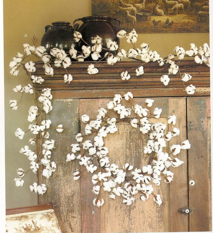 Real Cotton Wreaths Cotton Ball Garland And Wreath Love This I Like The Garland And Cotton Decor Wreath Decor Antique French Country