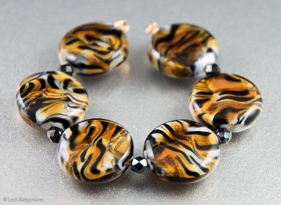 SINGLE Tiger Stripes Lampwork Glass Bead, Animal Print Slim Lentil, Handmade, Made to Order